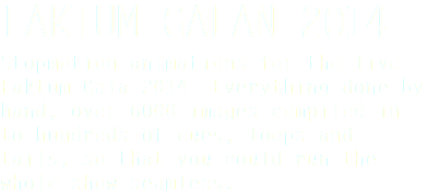 FAKTUM GALAN 2014 Stopmotion animations for the live Faktum Gala 2014. Everything done by hand, over 6000 images compiled in to hundreds of cues, loops and tails, so that you could run the whole show seamless.